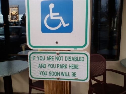 disabled spot,handicapped spot,monday thru friday,g rated