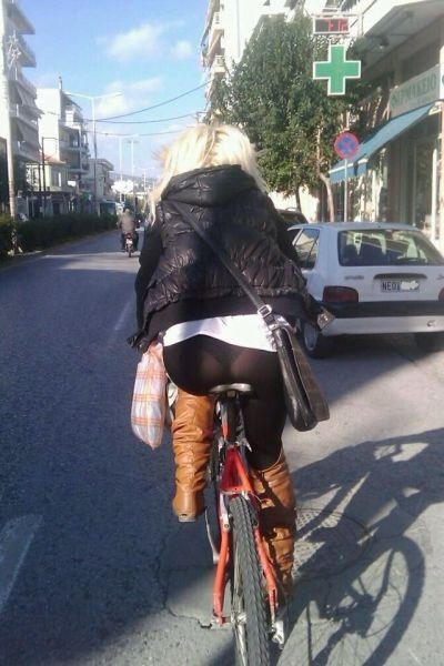Have see through yoga pants on bike