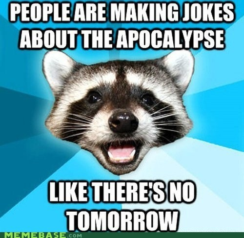 Lame Pun Coon december 21 apocalypse the end of the world puns Memes raccoons tomorrow - 6875627520