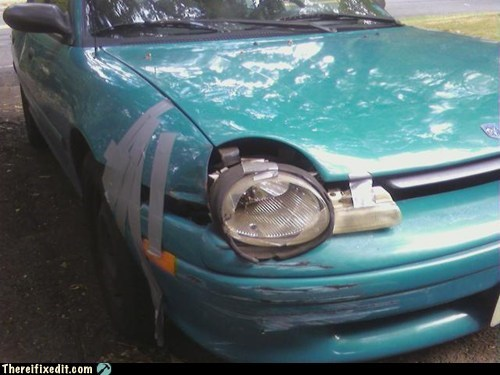 braces,car lights,headlights,teeth,duct tape