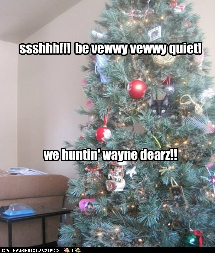 christmas,reindeer,christmas tree,captions,elmer fudd,tree,Cats,hunt