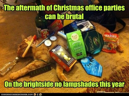 christmas,lampshade,alcohol,booze,drunk,Christmas party,captions,office party,Party,hangover,Cats