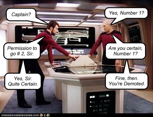 number two william riker Captain Picard Jonathan Frakes demoted misunderstanding number one patrick stewart