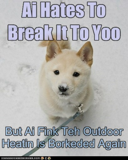 Maybe We Should Find Teh Defrost Button Ai Hates To Break It To Yoo But Ai Fink Teh Outdoor Heatin Is Borkeded Again