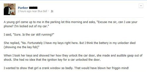 car keys,car door,locked out,failbook,g rated