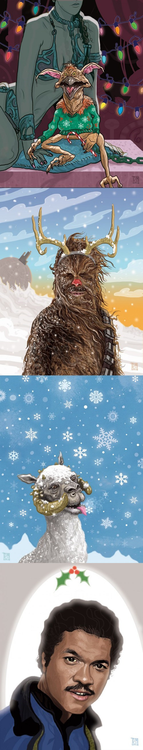 star wars,chewbacca,Fan Art,Lando Calrissian,christmas cards,Princess Leia