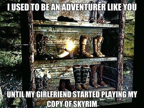 bookshelf,girlfriend,Skyrim,girl gamers