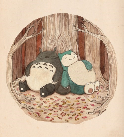 snorlax,art,totoro,friends