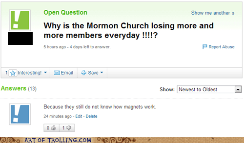 yahoo answers,magnets,Mormon Church