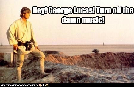 george lucas,Music,star wars,luke skywalker,too loud,Mark Hamill