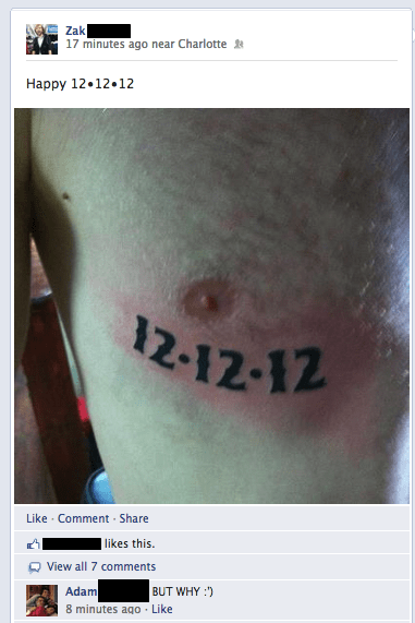 12/12/12/,facebook,g rated,Ugliest Tattoos