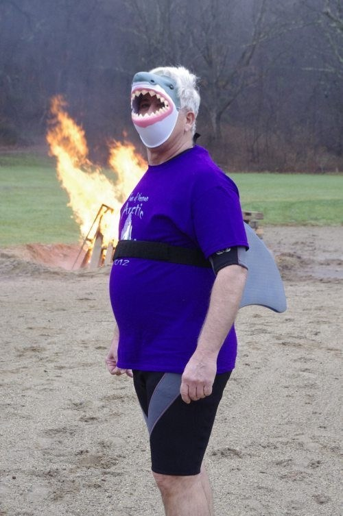 mask,shark,camp fire