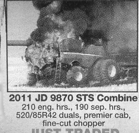 Ad,tractor,fire,newspaper,seems legit