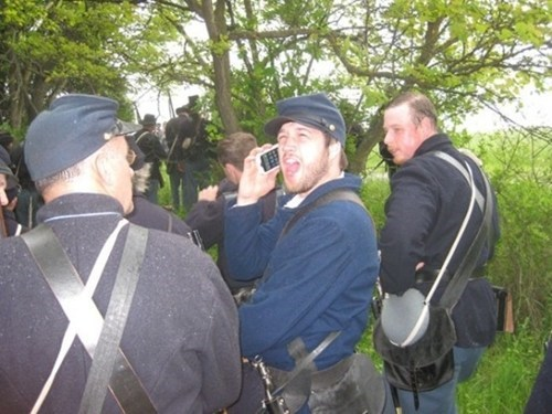 historical reenactment,cell phone,civil war,anachronism