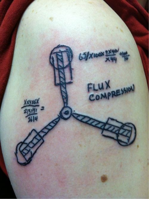 arm tattoos flux capacitor back to the future