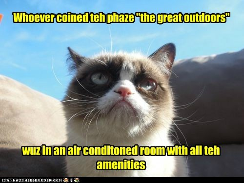 """Whoever coined teh phaze """"the great outdoors"""" wuz in an air conditoned room with all teh amenities"""