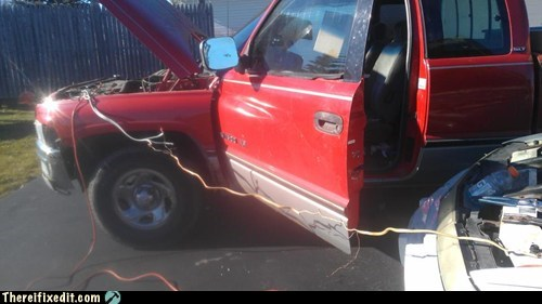 pickup,car engine,jumper cables,engine