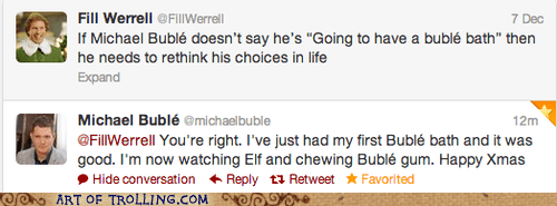 Will Ferrel twitter michael buble comedy