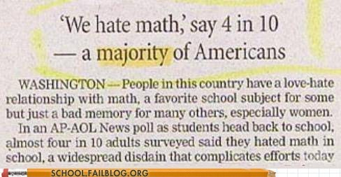 hating math,majority,wrong,math