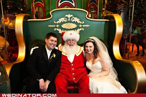 christmas bride groom wedding santa holidays