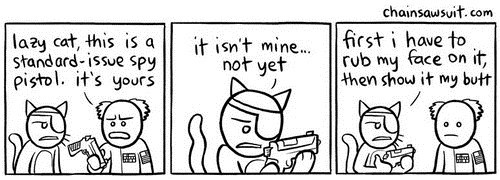 guns illustrations comics butts rubbing ownership Cats pistols - 6880857088