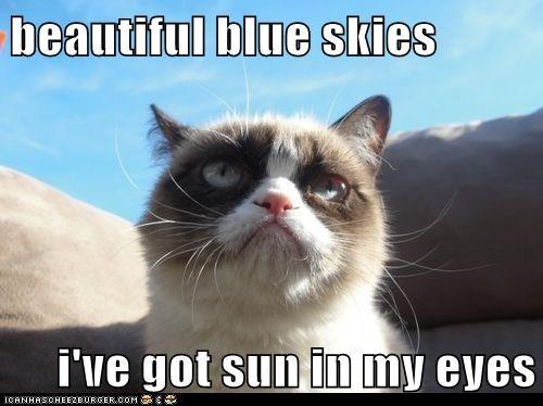 beautiful blue skies  i've got sun in my eyes