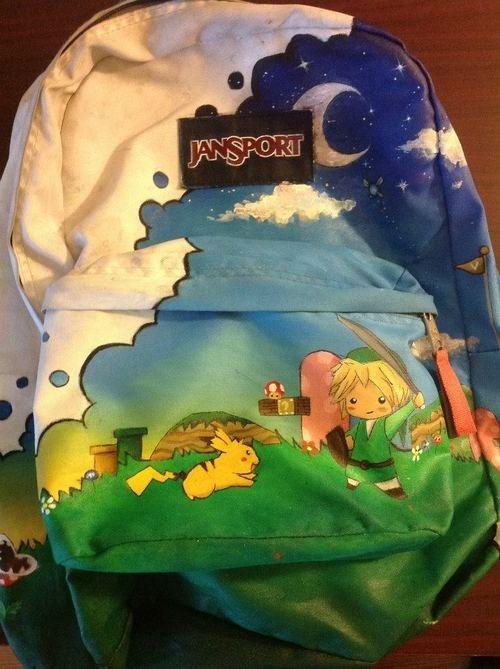 Pokémon link Fan Art pikachu video games Super Mario bros backpack - 6881237760