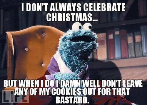 christmas Cookie Monster santa funny holidays