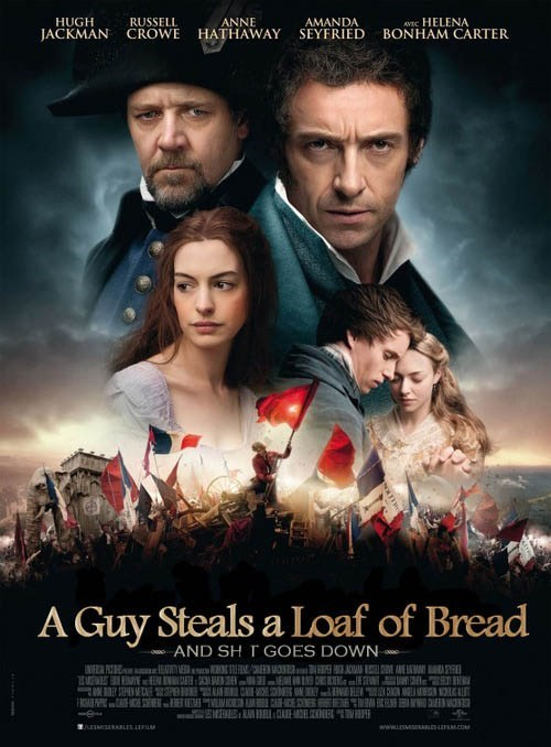 poster anne hathaway Movie hugh jackman Russell Crowe funny Les Misérables - 6881510912