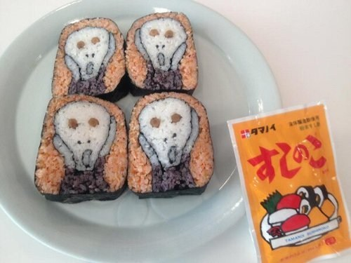 The Scream art sushi cute food
