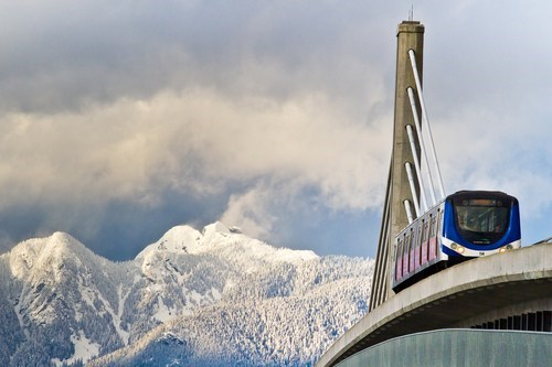 Canada,sky train,mountains,vancouver
