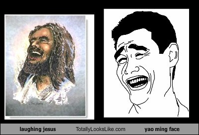 laughing jesus totally looks like yao ming face totally looks like