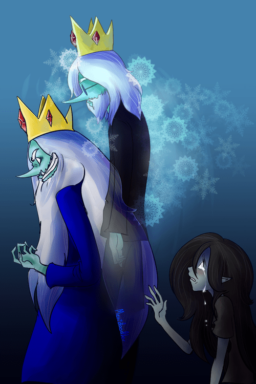 Fan Art,marceline the vampire queen,ice king,adventure time