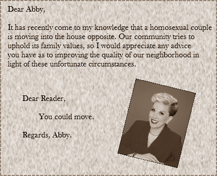 intolerance,good response,dear abby
