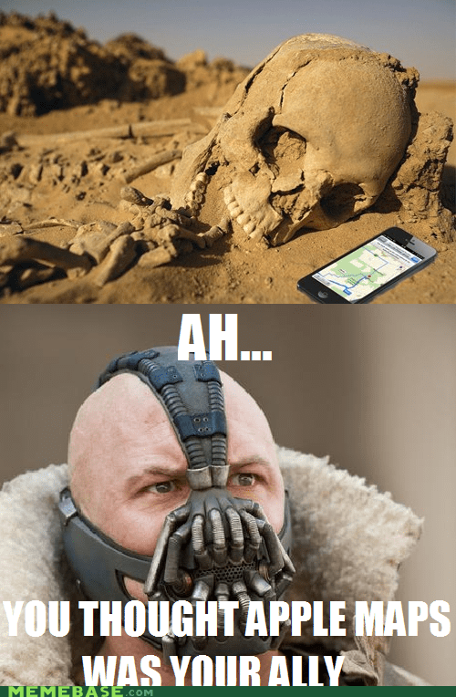 bane,apple maps,superheroes