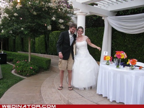 bride,groom,cargo shorts,wedding,funny