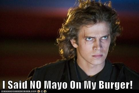 the revenge of the sith,burger,star wars,mayo,angry,the dark side,hayden christensen,anakin skywalker