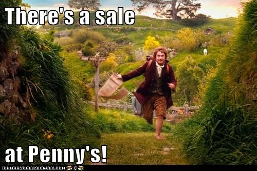excited Martin Freeman Bilbo Baggins sale The Hobbit running penny's airplane