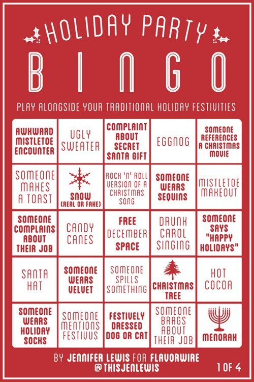 drinking parties Holiday party bingo