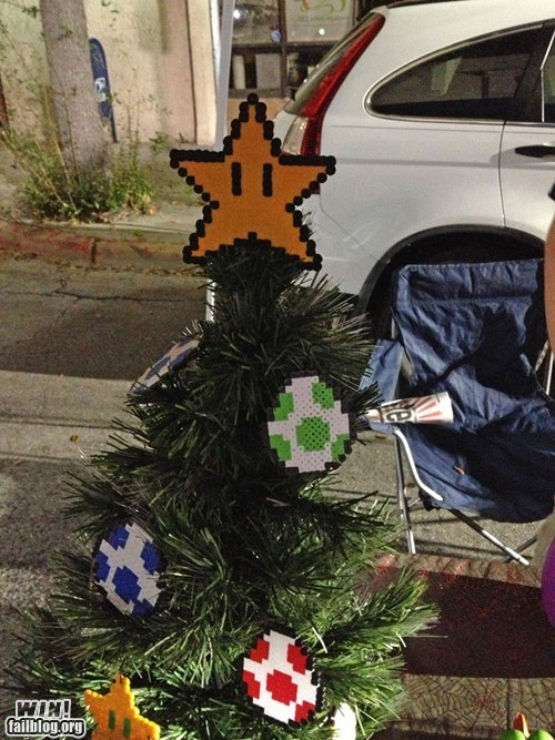 christmas tree,nerdgasm,video games,Super Mario bros,nintendo