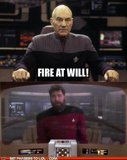 william riker Captain Picard Jonathan Frakes the next generation Star Trek fire at will patrick stewart - 6891211520