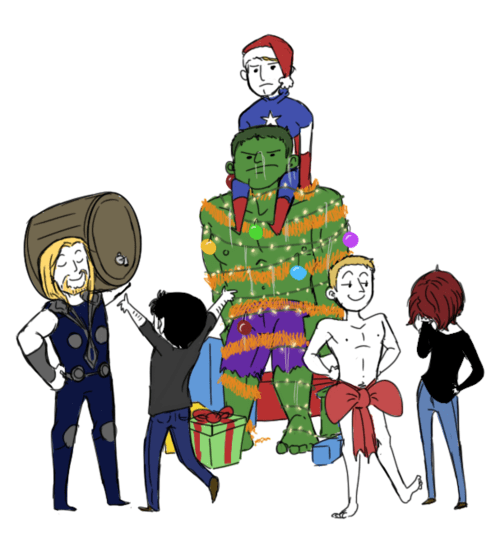 christmas art The Avengers illustration funny holidays - 6891350272
