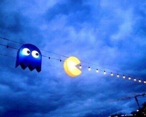 christmas,lights,pacman