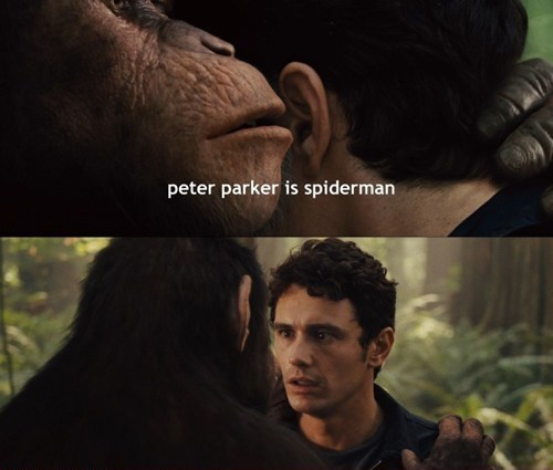 peter parker secret rise of the planet of the apes James Franco whispering shocked Spider-Man