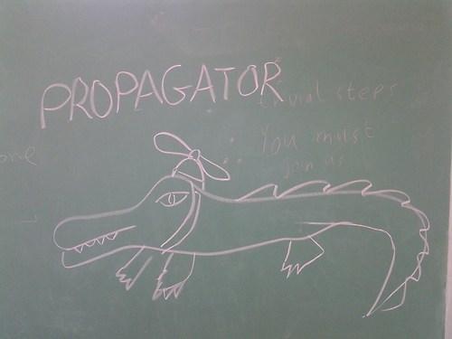 propagator,propeller,gator,portmanteau,prop,literalism,double meaning