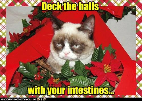 fa la la la la, la la la la Deck the halls with your intestines...