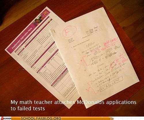 tests,McDonald's,applications,math,g rated,School of FAIL