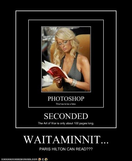 WAITAMINNIT... PARIS HILTON CAN READ???