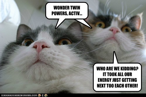 WONDER TWIN POWERS, ACTIV... WHO ARE WE KIDDING? IT TOOK ALL OUR ENERGY JUST GETTING NEXT TOO EACH OTHER!