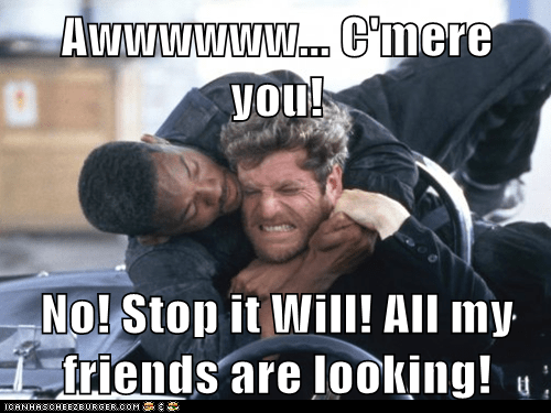 embarrassed,friends,hugging,looking,awww,bad boys,Tchéky Karyo,will smith